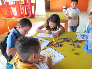 Children color at the library.